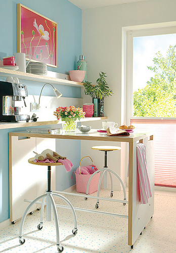 baby pink sky blue cute kitchen