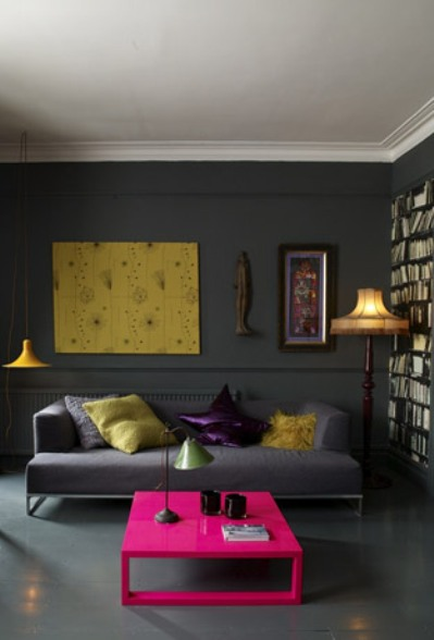 grey yellow and pink living room