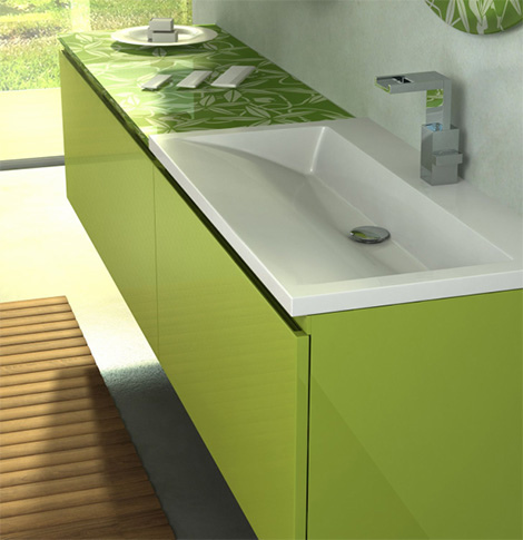 leaf print green vanity unit