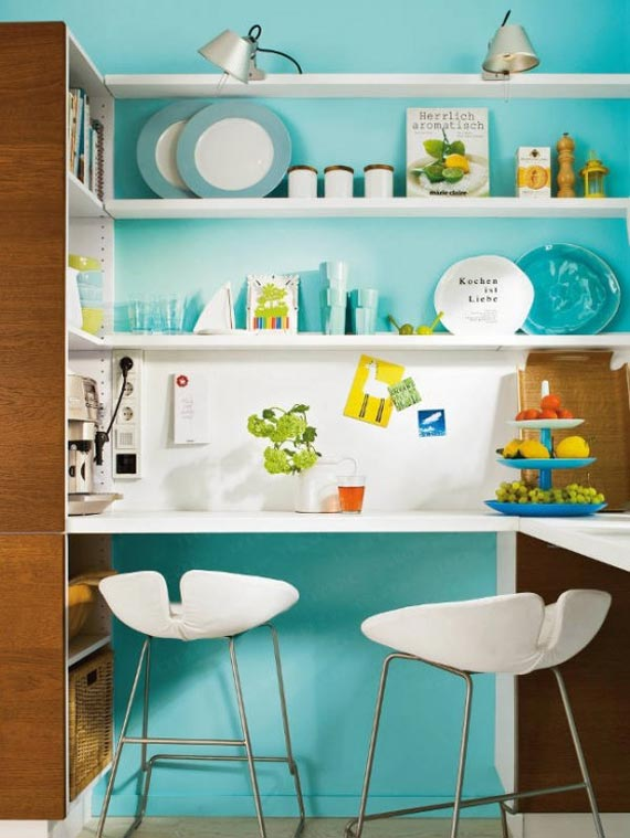 aqua blue white cute kitchen bench