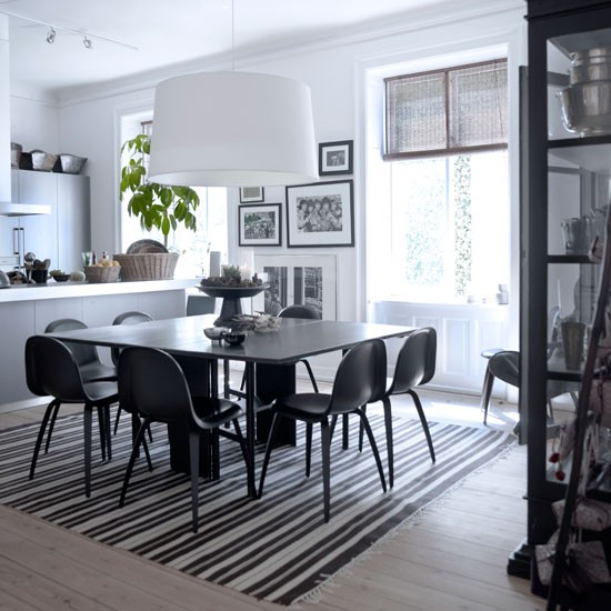 white giant shade black dining table