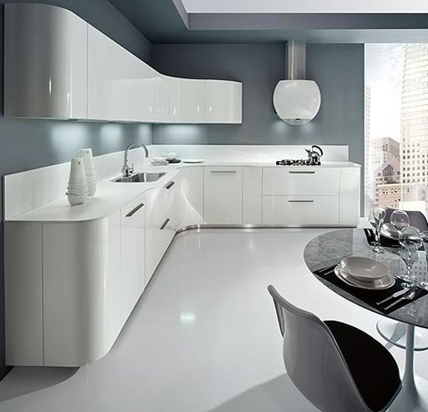 grey white gloss kitchen