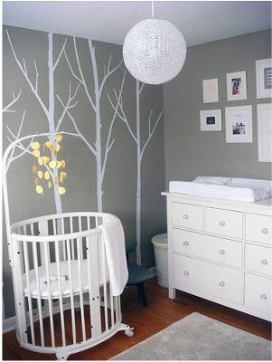 modern grey gray nursery