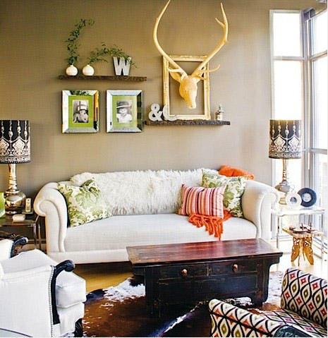 white taupe eclectic living room