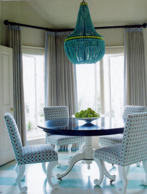 turquoise chandelier light dining