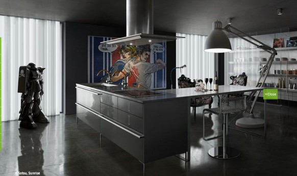 grey gloss contemporary pop art kitchen