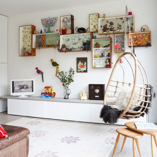 modern retro eclectic living room