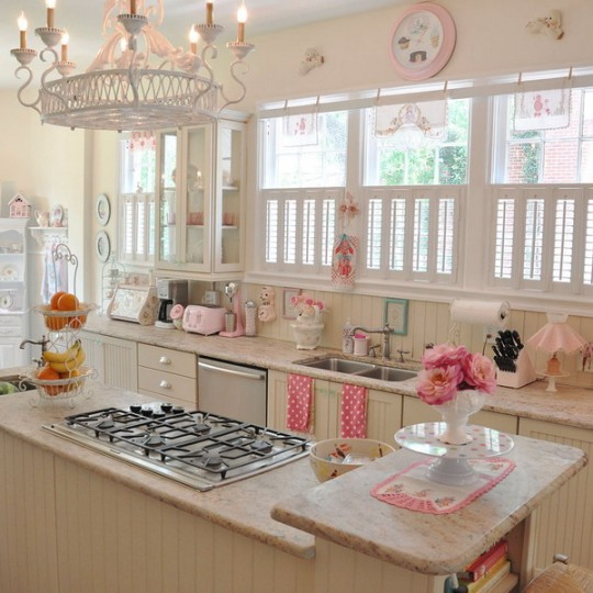 pink white cute kitchen window shutters