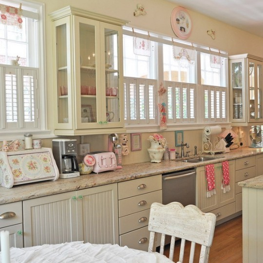 pink white cute painted kitchen