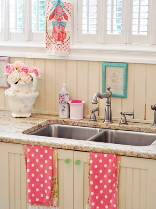 pink white cute country kitchen granite