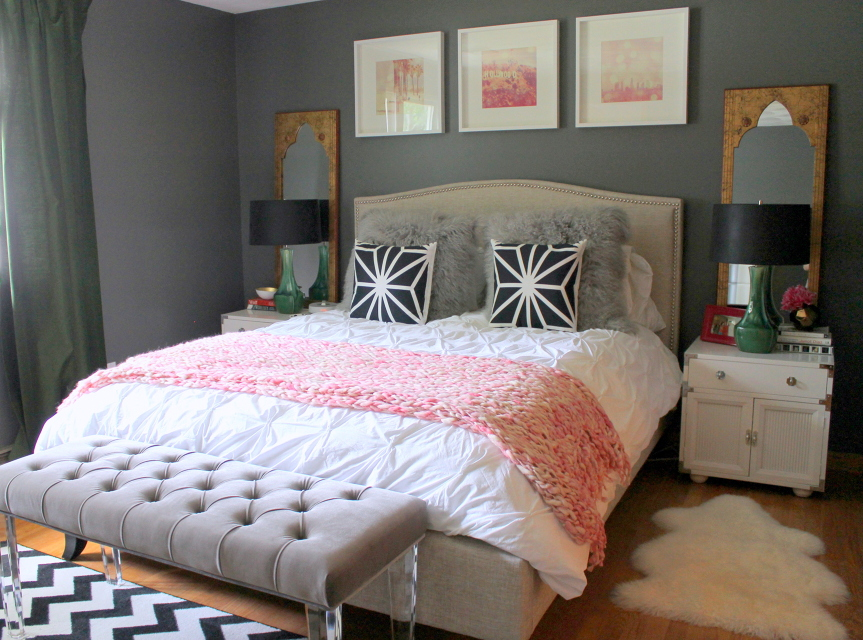 grey pink green bedroom