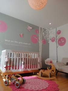 grey gray pink modern nursery
