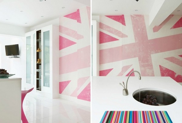 Pink union jack wall white cute modern kitchen