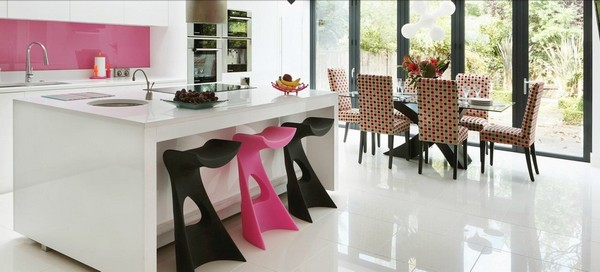 pink black white cute kitchen diner