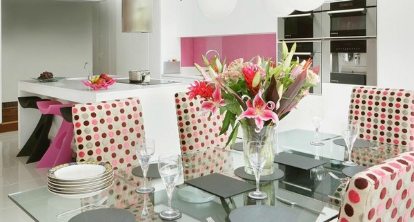 cute pink white polka dot kitchen dining