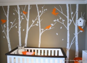 taupe orange nursery mural