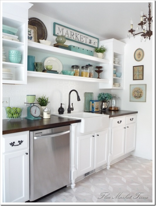 blue white cute painted kitchen