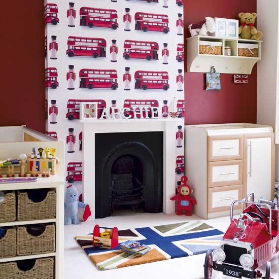 red white british theme nursery union jack