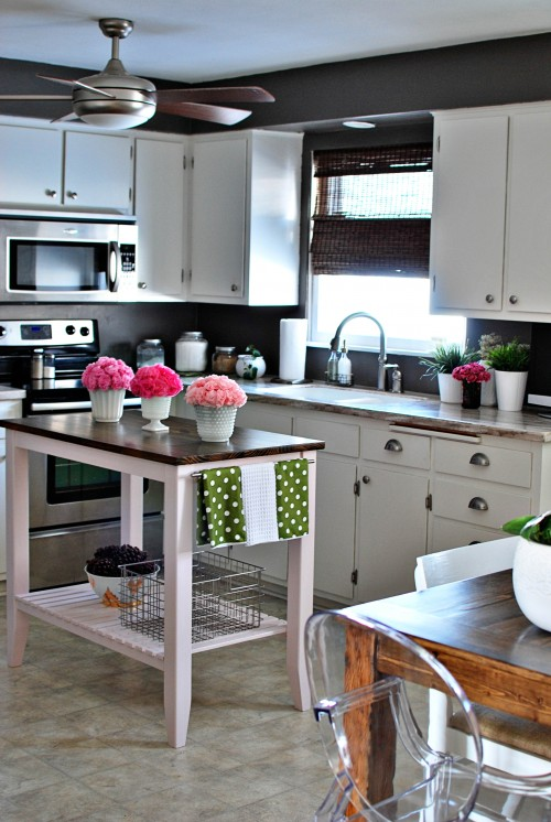 white grey gray green pink cute eclectic kitchen