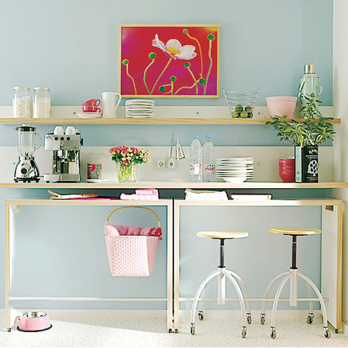 baby pink sky blue cute kitchen bench