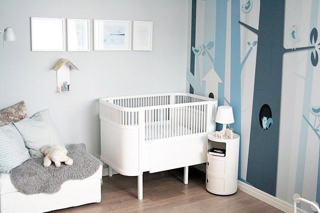 grey gray blue modern nursery