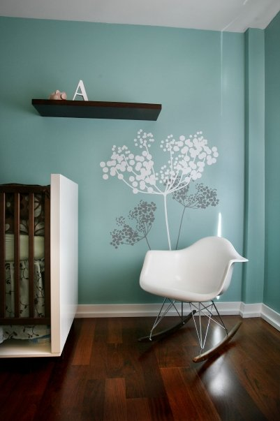 aqua modern nursery rocking chair