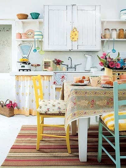 white yellow turquiose cute kitchen