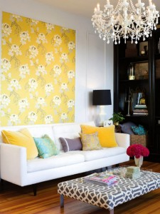 white yellow eclectic living room