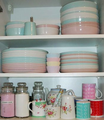 pastel dishes cute kitchen shelving