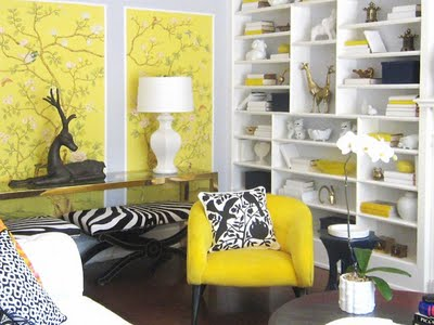 yellow white eclectic living room