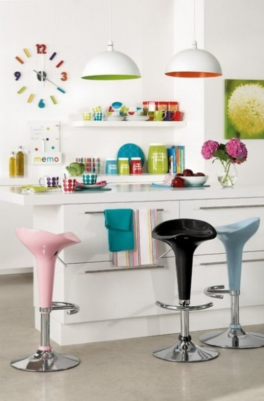 cute colourful white kitchen island