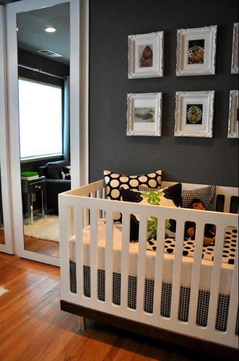 grey gray contemporary nursery