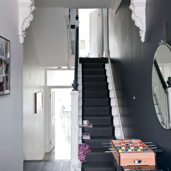grey hallway stair runner