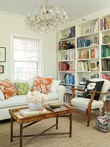 white modern eclectic living room