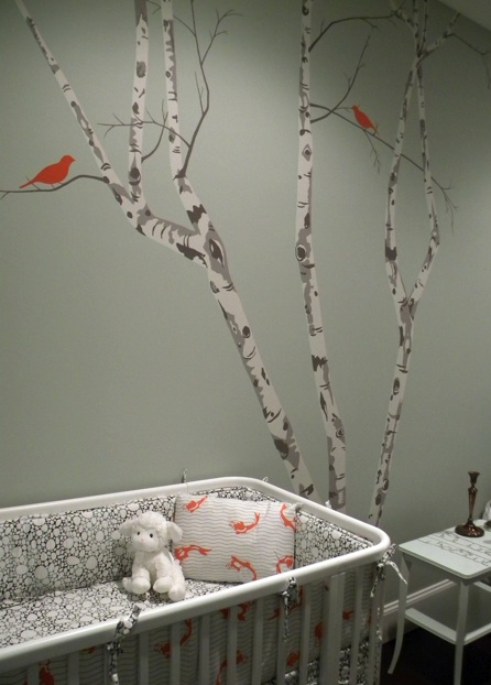 grey gray orange modern baby room nursery