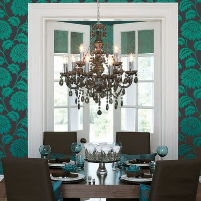 teal brown dining room