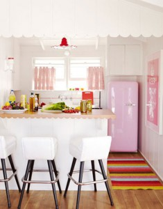 pink white cute kitchen smeg fridge