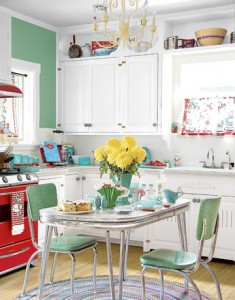 mint green red cute retro table kitchen