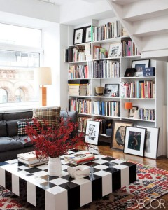 black white eclectic living room