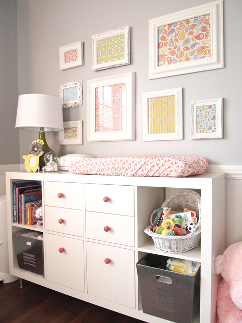 grey pink nursery changing table