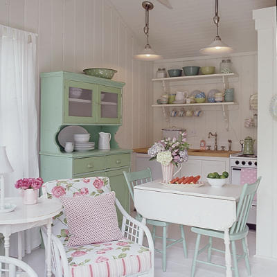 mint green pink white cute country kitchen