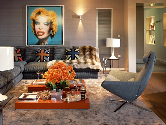 pop art grey eclectic living room