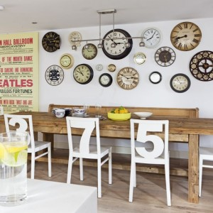 Quirky dining room White number chairs clock collection retro poster