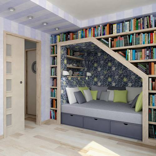 bespoke bookshelves reading nook