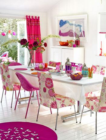 pink white floral feminine dining room chairs round rug