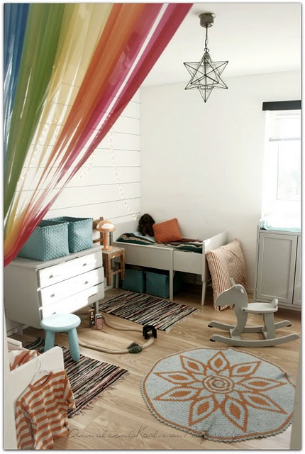 unisex boys girls kids room childrens bedroom childs blue white rainbow curtain extendable childs bed