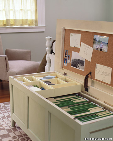 Mini Office in a Chest How-To via Martha Stewart