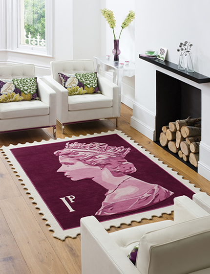 British Stamp rug purple