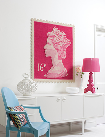 British Pink Stamp Rugs