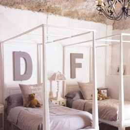 unisex boys girls kids room shared childrens bedroom childs grey gray white four poster bed beds